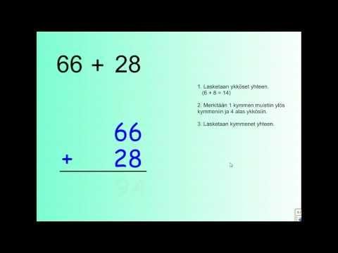 ▶ Yhteenlaskua allekkain - YouTube (video 5:33).