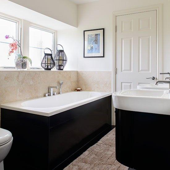 Creme Bad mit schwarzen Badewanne und Waschbecken … Wohnideen Badezimmer Living Ideas Bathroom#house
