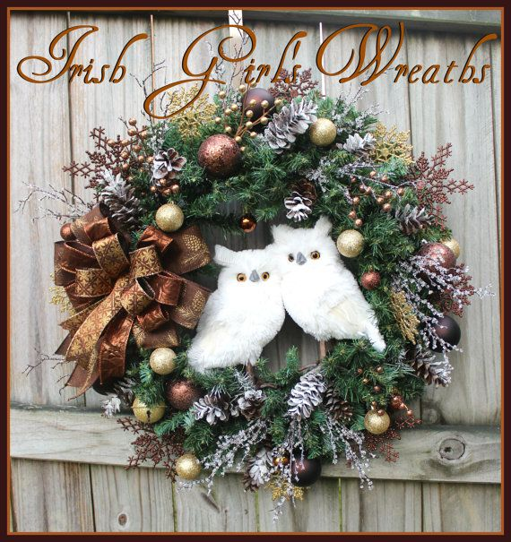 Rustic Winter Cabin Owls Christmas Wreath in rich, warm brown, copper, gold, Woodland owl winter wreath,white owls, Snow Owls