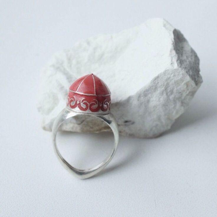 Кольцо в национальном стиле . Серебро/ эмаль