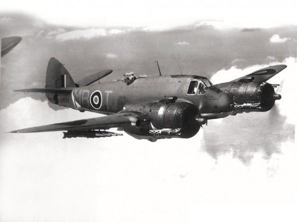 AUG 23 1941 Night fighter interception over the North Sea Bristol Beaufighter in flight A Bristol Beaufighter pictured later in the war when equipped with rockets - mainly used in an anti shipping role.