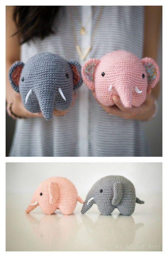 Adorável Crochet Elephant Amigurumi Padrões Livres