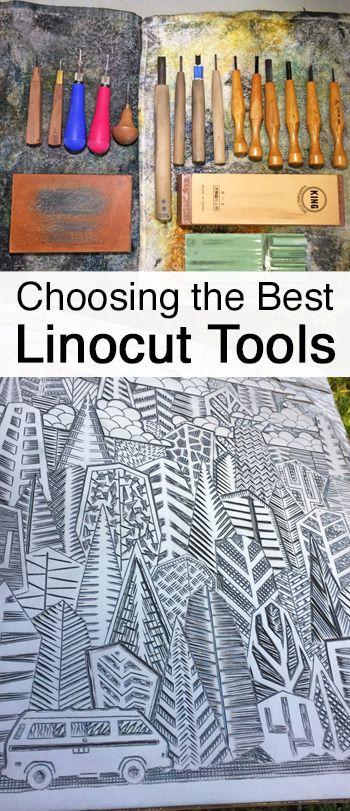 Recommendations on choosing linocut carving tools for linoleum block printing. By Boarding All Rows.