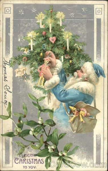 Vintage Christmas Post Card, Blue Santa Hanging Ornament on a Tree A Merry Christmas to You