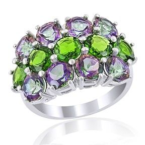6.62 Ct Green Topaz With Round Chrome Diopside In 925 Sterling Silver Ring by JewelryHub on Opensky
