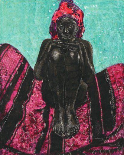 Jacques MAJORELLE (1886-1962) Jeune fille assise sur un tapis berbère. Grattage,