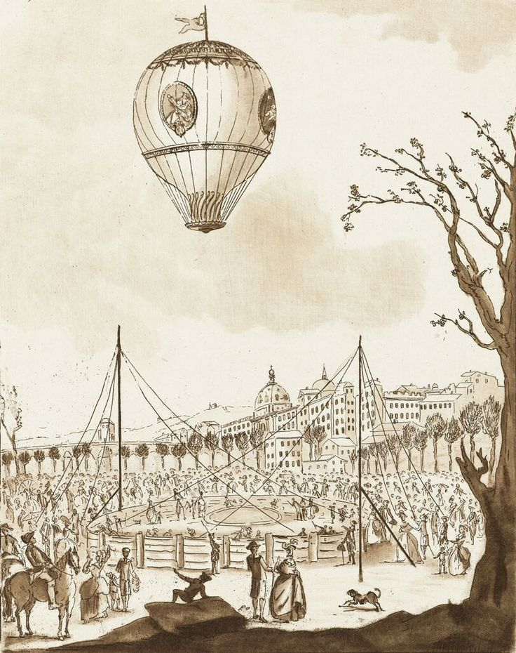 'Le Flezel' hot-air balloon carrying Joseph Montgolfier and other distinguished passengers over Lyon. Etching, 1784 (or later), Rijksmuseum
