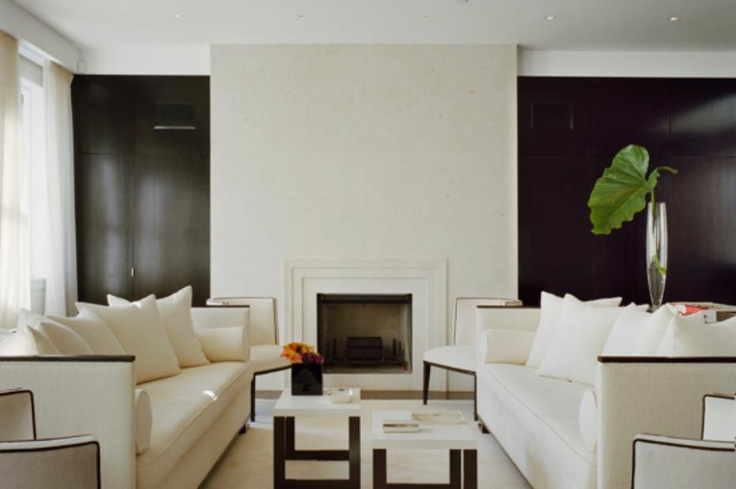 Sophisticated living room fireplace in dark brown and for Black brown and cream living room ideas