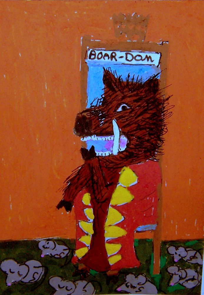 #ACEO #Halloween 31 #Boar -Dom #Hawaii feral #pig #costume King Original whimsical #whimsical