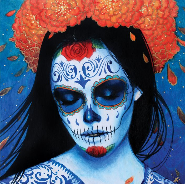 "Sylvia Ji has new work called ""Calvera Azul"" It's going to be made into a print... http://www.827ink.com/products/Calavera-Azul.html"
