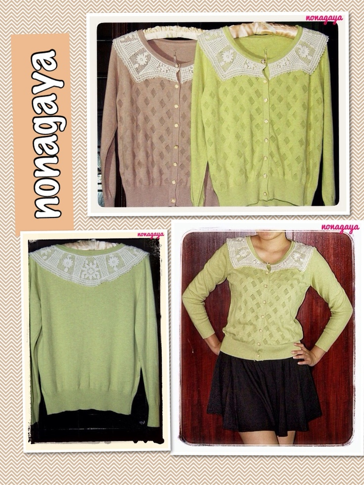 Cardigan (brown or green) in stock. Rp 170.000