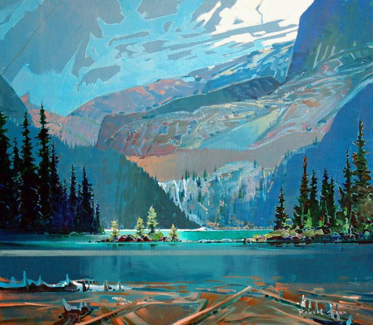 Lake O'Hara -- acrylic on canvas 30 x 34 inches Robert Genn 2009