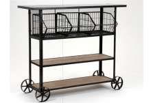 Console haute pour la cuisine avec casiers en métal et plateaux bois