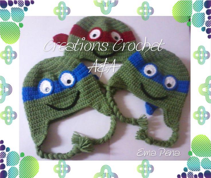 Gorros tejidos a crochet de las tortugas ninja | Tejido en croche ...