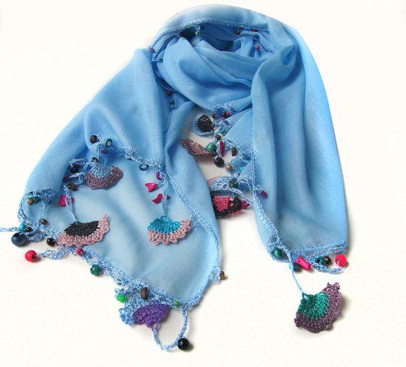 Blue pure cotton scarf / Designer accessories by SEVILSBAZAAR