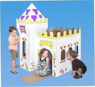 """Medieval Castle Playhouse by Box Creations. $23.00. Easy to set up and provides hours of fun, inside and out. 4 colored markers included. Children's playhouse they can color and decorate themselves!. Dimensions 52""""L x 43""""W x40"""" H. Made in the USA with recycled materials. From the Manufacturer                Easy to assemble and store cardboard play structure complete with set of 4 washable markers                                    Product Description                E..."""