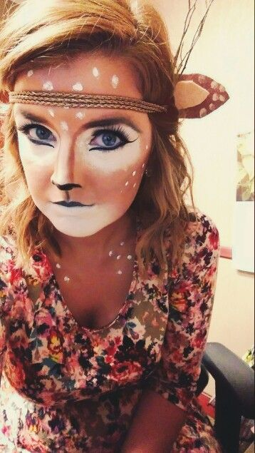 Oh dear. Quick & easy deer makeup for Halloween! Throw on an autumn floral print dress, tights and boots for a finished DIY halloween costume.