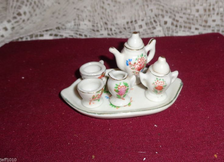 Oh So Adorable Vintage Tea Set : Vintage Pink Roses Miniature Tea Set Porcelain Occupied Japan Dollhou ...