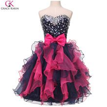Nette Kurze Puffy Prom Kleider Robe De Soiree Courte 2016 Gnade Karin Vestidos Organza Black & Red Party Kleid Formale Ballkleider(China (Mainland))