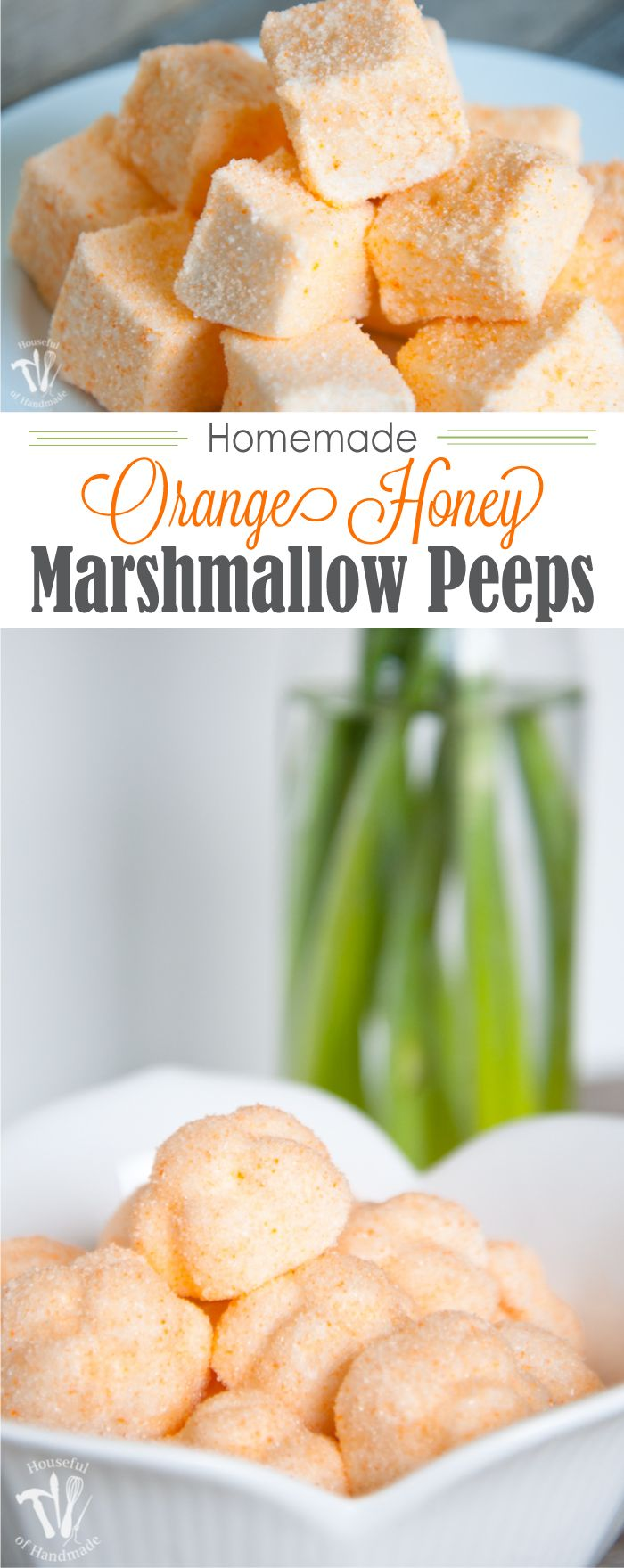 Who says Peeps are only for Easter? Celebrate spring with these delicious Homemade Orange Honey Marshmallow Peeps. These fancier homemade marshmallows are the perfect spring treat. | Housefulofhandmade.com