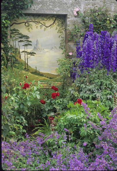 Purple Country Garden Keywords: Blue, Nepeta, Flowers, Garden, Purple, Rose, Flowerbed, Rosa, Mural, Delphinium, Catmint, Red, Wall Painting