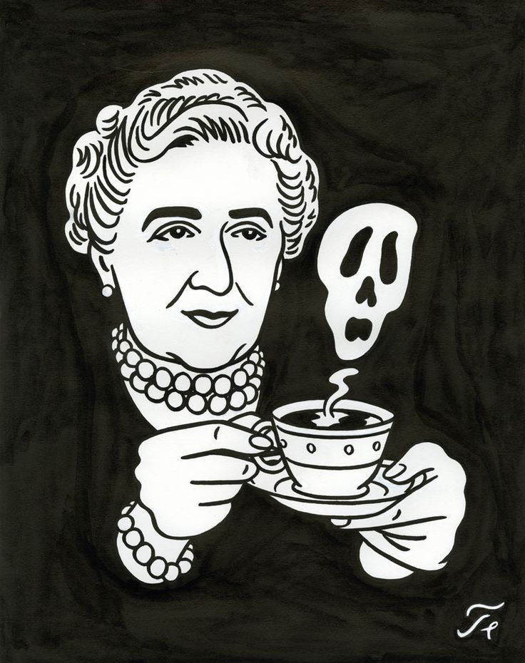 "Coffee or Tea? - Agatha Christie - Drawing for the cover of Magazine ""Read"""