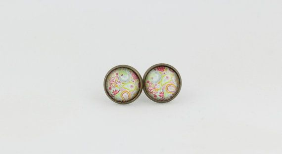 Paisley Stud Earrings - 12mm Stud Earrings - Glass Cabochon Earrings - Gift for Her - Gift Under 10