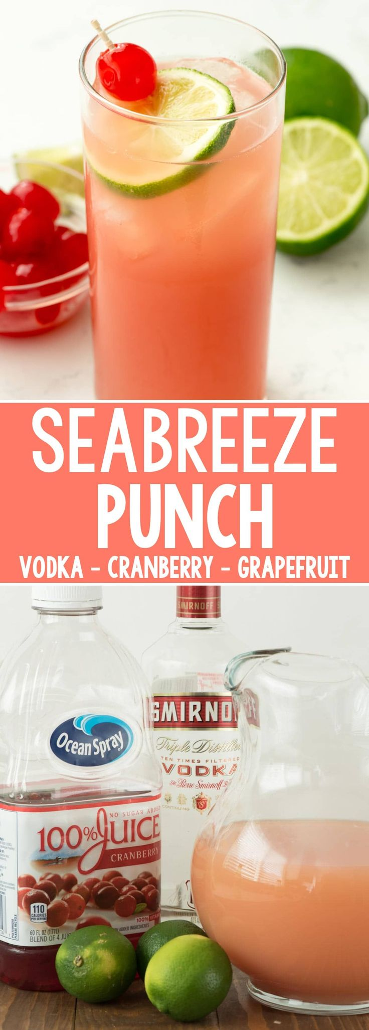 Seabreeze Cocktail Punch - this easy cocktail recipe has just three ingredients: vodka, grapefruit, and cranberry juice. It's the perfect summer punch recipe and leaves you feeling refreshed.