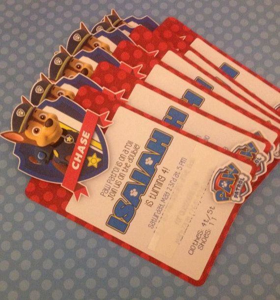 12 Paw Patrol Birthday Invitations by NiftyKreations1 on Etsy