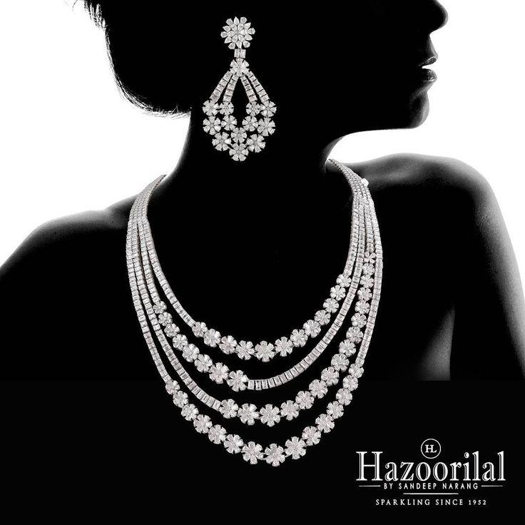 """A sumptuous diamond necklace to add in your wedding trousseau.  #Hazoorilal #HazoorilalBySandeepNarang"""