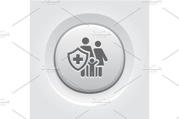 Family Insurance Icon. Grey Button Design. Graphics Family Insurance Icon. Grey Button Design. Isolated Illustration. Family with a shield and a cross o by PictureInStock