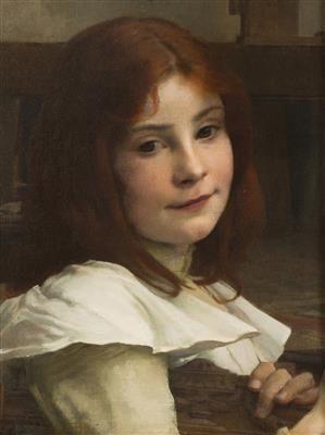Vojtěch Hynais - Head of a Girl, oil on canvas