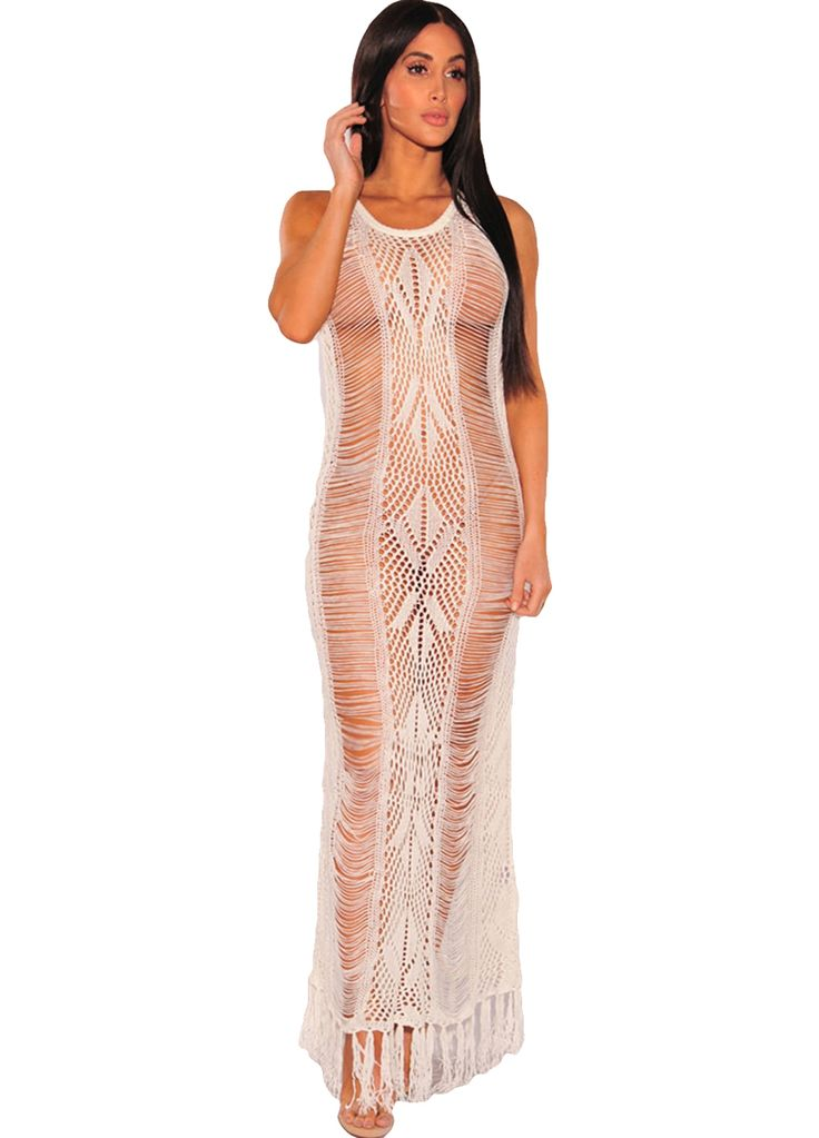 Chic Fringe Hem Knit Beach Maxi Dress_Maxi Dress_Dresses_Sexy Lingeire | Cheap Plus Size Lingerie At Wholesale Price | Feelovely.com