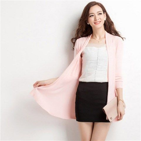 Textured Knit Cardigan - Pink