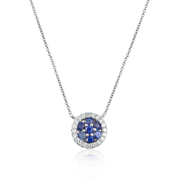 Sapphire Diamond Circle Necklace 18KW