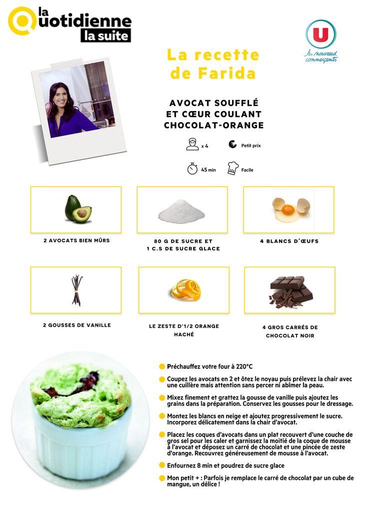 Retrouvez la recette de Farida : Avocat soufflé au chocolat noir