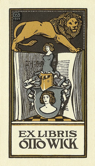 Bookplate of Otto Wick (1908) ~ Artist: Bernhard Wenig ~ German illustrator and graphic artist and designer ~ Description: States, 'Ex Libris Otto Wick;' features a lion, an open book, the bust of a woman, and a shield. Signed at the top left 'BW 1908.' Pratt Institute Libraries