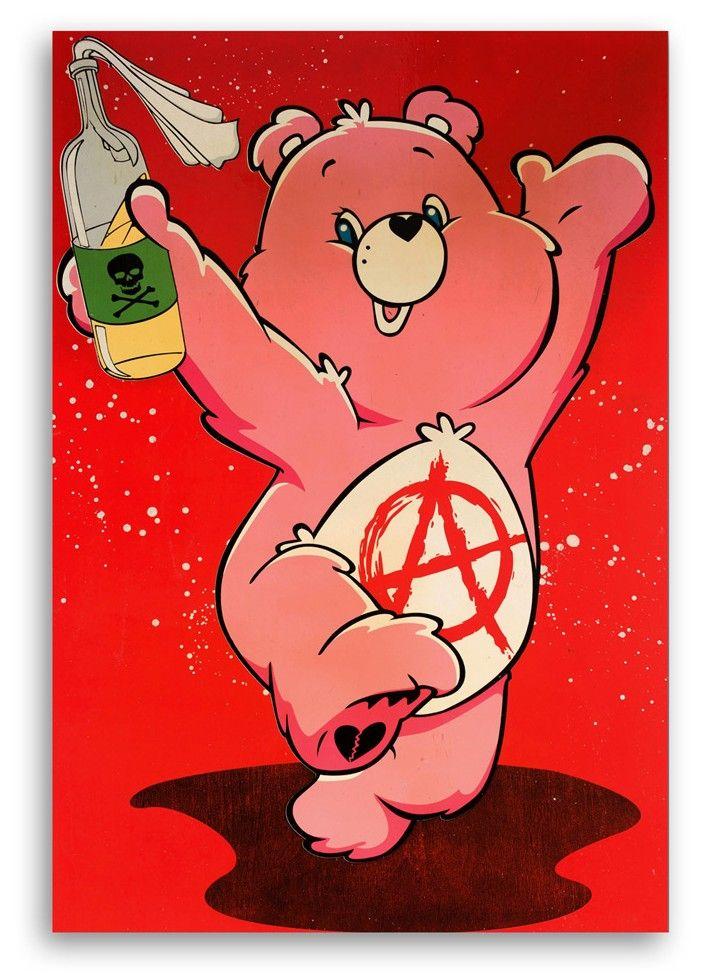 I Don T Care Bear 24 X 36 Inch Trippy Cartoon Trippy Drawings Bear Wallpaper