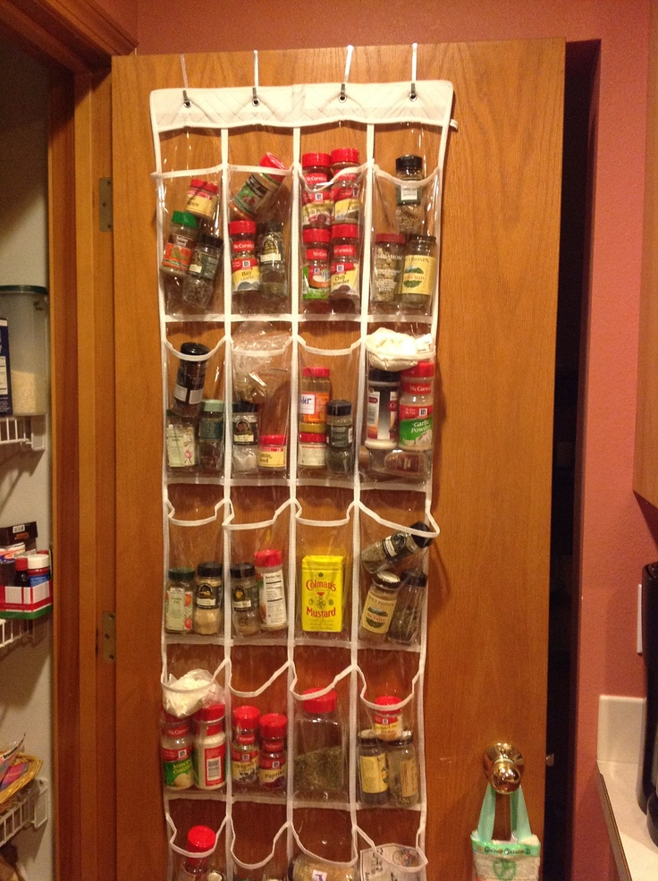 Spice Rack Solution...hang Clear Over The Door Shoe Bag On Inside Of