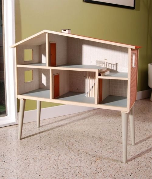 Mid century modern doll house. But I love the idea of just putting one on legs to raise it up to play height!!!