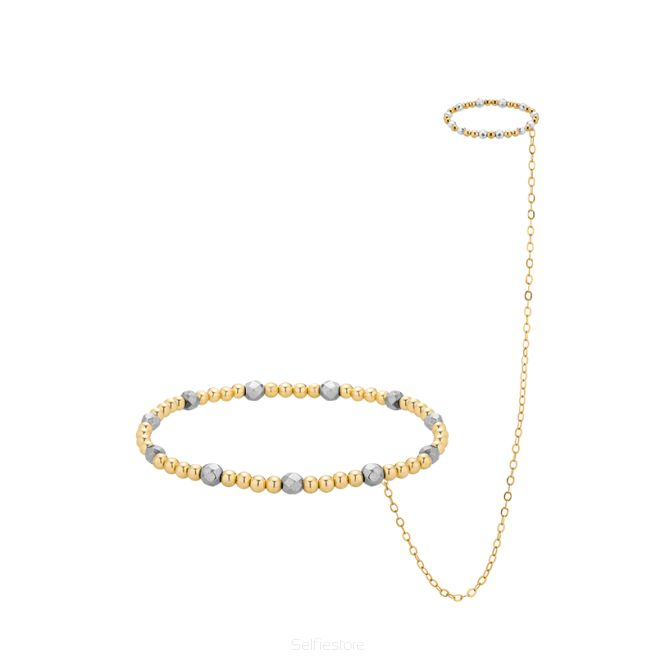 Bransoletka & pierścionek / srebrny hematyt / złocenie - Selfie Jewellery - Sklep Internetowy