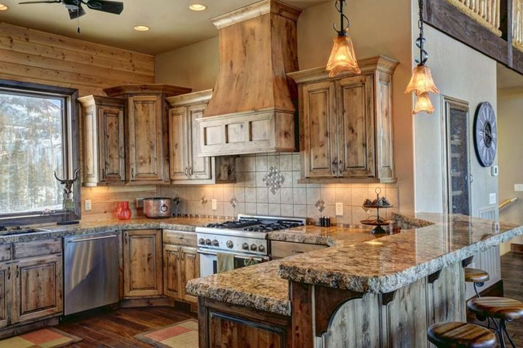 Rustic kitchen with knotty pine cabinets