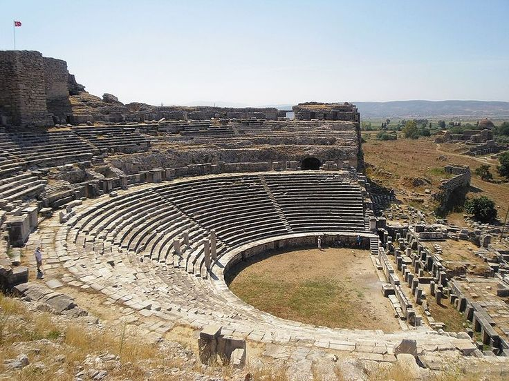 Theater of Miletus, w coast Anatolia, Turkey. Ionians. Archaic Pd Greece began w/sudden flash art & philosophy on coastal Anatolia. In 6c BC Miletus origin Greek phil & sci trad: Thales, then  Anaximander & Anaximenes (Milesian Schl) speculating re: mat'l constitution of world, proposed speculative naturalistic as opposed to trad'l, supernatural explan nat'l phenomena. Birthplce  Hagia Sophia architect & inventor flying buttress Isidore & Thales, pre-Socratic Grk philosphr & 1of 7 Sages 624…
