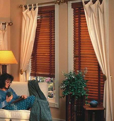 Curtains To Go With Wood Blinds Decorating Style Roller House