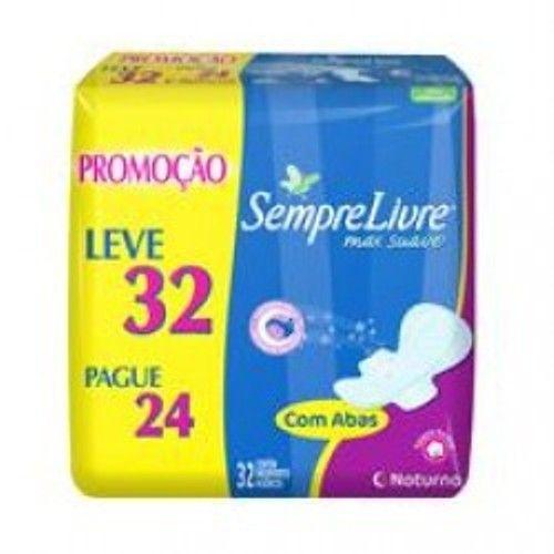 Absorvente Sempre Livre Noturno maxi suave com abas Leve 32 Pague 24 - Drogaria Sao Paulo R$ 17,85 cada pacote...