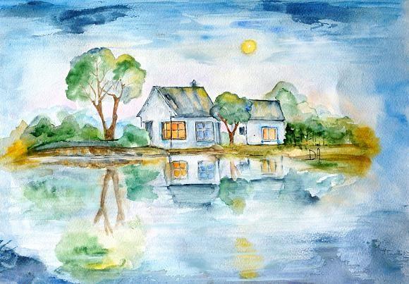 Домики у озера, автор Елисеева Дарья. Артклуб Gallerix