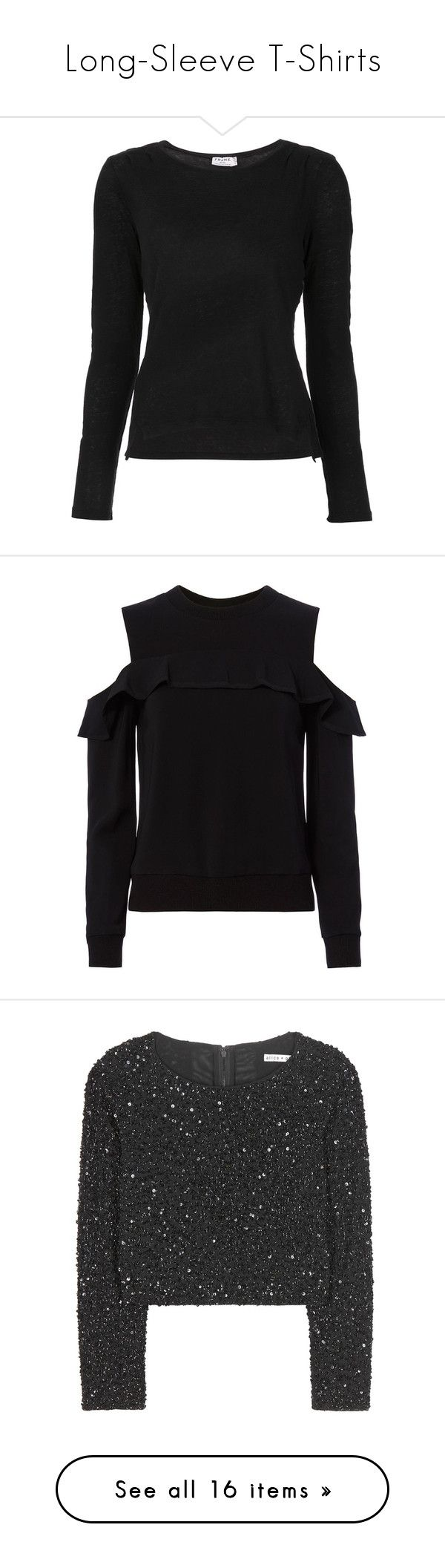 """""""Long-Sleeve T-Shirts"""" by random11-1 ❤ liked on Polyvore featuring tops, t-shirts, long sleeves, sweaters, clothing /, kirna zabete, longsleeve t shirts, frame t shirt, longsleeve tee and linen t shirt"""