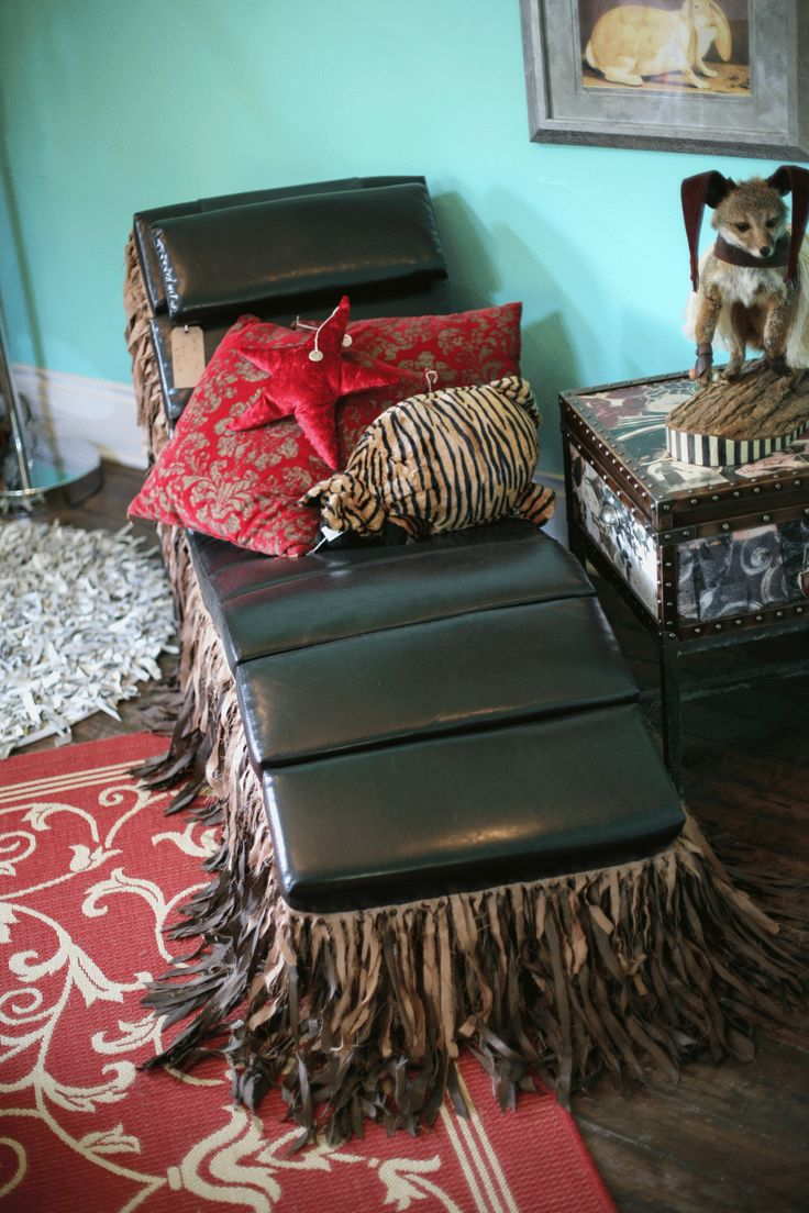 Phoebe beige linen modern chaise lounge see white - Wacky Cocoa Brown Naugahyde Modern Chaise Lounge Chair Dripping In Fringe Nail Heads