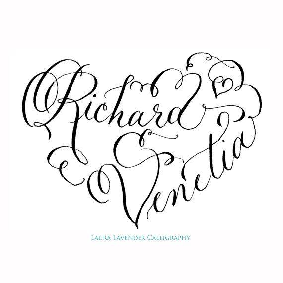Calligraphy Heart Monogram - Hand Lettered Custom Wedding Crest - Unique Invitations - Heart Shaped Romantic Sweet Cute