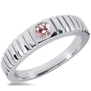 0.25 Karat pink Diamant Herrenring aus 585er Weißgold